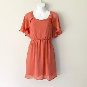 Lush Sleeveless Flowy Capelet Dress EUC